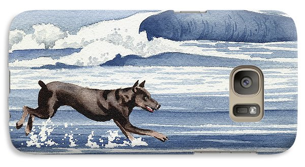 Doberman At The Beach  Galaxy Case by David Rogers