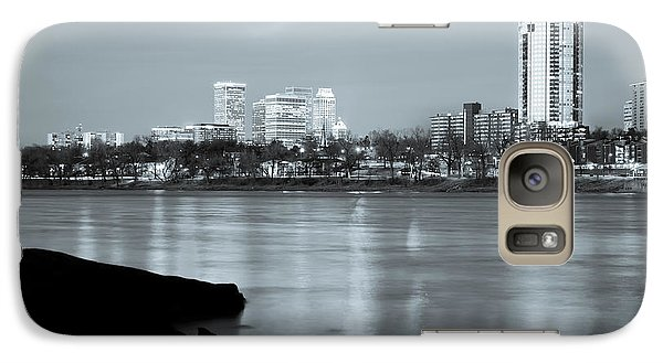 Downtown Tulsa Oklahoma - University Tower View - Black And White Galaxy Case by Gregory Ballos
