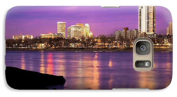 Downtown Tulsa Oklahoma - University Tower View - Purple Skies Galaxy Case by Gregory Ballos