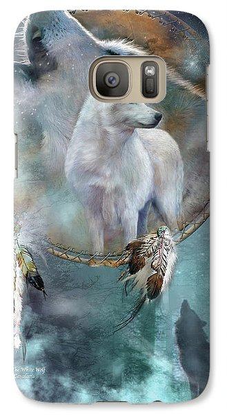 Dream Catcher - Spirit Of The White Wolf Galaxy S7 Case by Carol Cavalaris