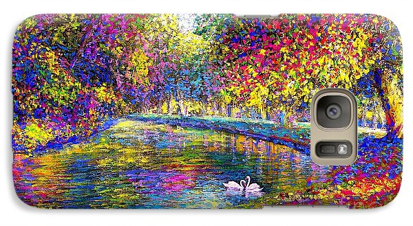 Drifting Beauties, Swans, Colorful Modern Impressionism Galaxy S7 Case by Jane Small
