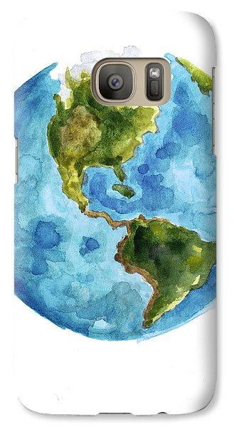 Earth America Watercolor Poster Galaxy Case by Joanna Szmerdt