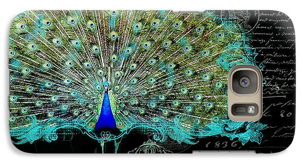 Elegant Peacock W Vintage Scrolls 3 Galaxy Case by Audrey Jeanne Roberts