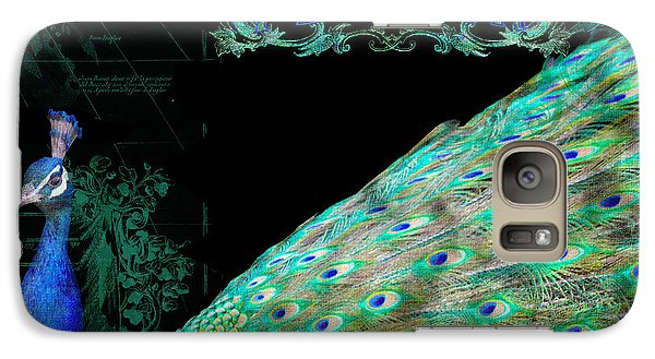 Elegant Peacock W Vintage Scrolls Typography 4 Galaxy Case by Audrey Jeanne Roberts