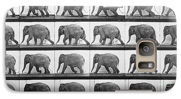 Elephant Walking Galaxy Case by Eadweard Muybridge