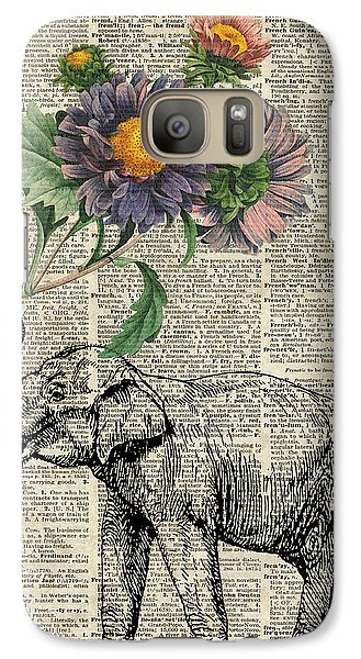 Elephant With Flowers Galaxy Case by Jacob Kuch