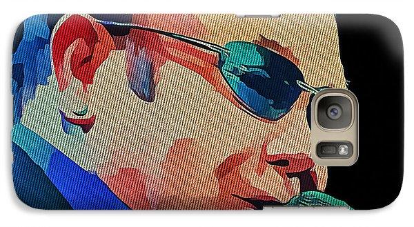 Elton John Blue Eyes Portrait 2 Galaxy Case by Yury Malkov