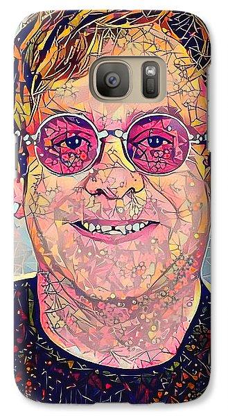 Elton John Triangles Portrait Galaxy Case by Yury Malkov