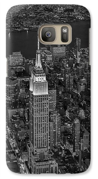 Empire State Building Aerial View Bw Galaxy Case by Susan Candelario