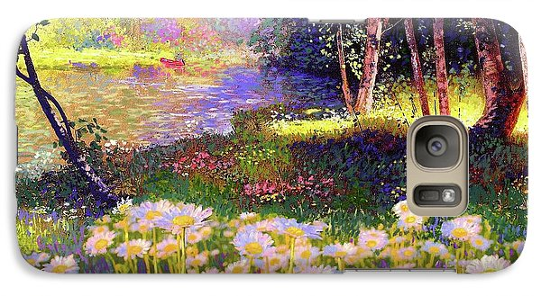 Enchanted By Daisies, Modern Impressionism, Wildflowers, Silver Birch, Aspen Galaxy S7 Case by Jane Small