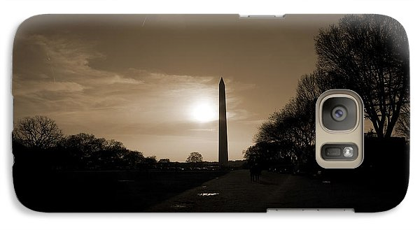 Evening Washington Monument Silhouette Galaxy Case by Betsy Knapp