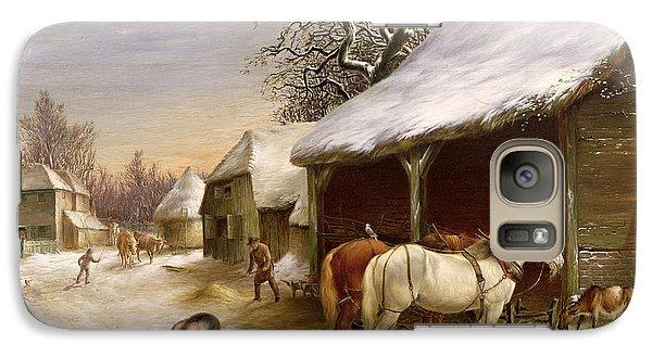 Farmyard In Winter  Galaxy Case by Henry Woollett