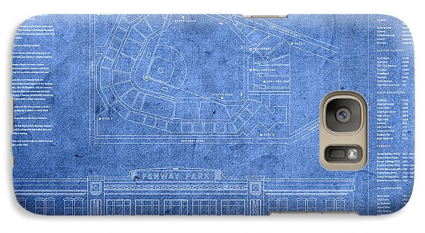Fenway Park Blueprints Home Of Baseball Team Boston Red Sox On Worn Parchment Galaxy S7 Case by Design Turnpike