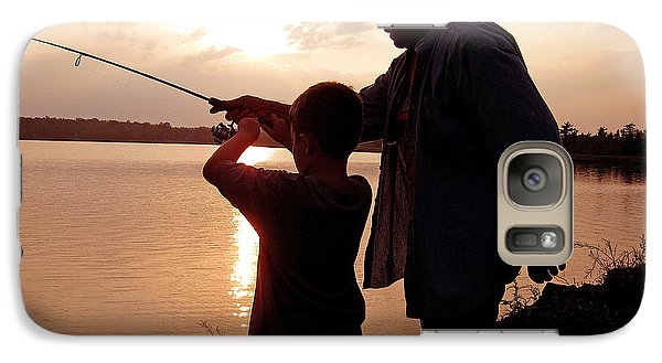 Galaxy Case featuring the photograph Fishing At Sunset Grandfather And Grandson by A Gurmankin
