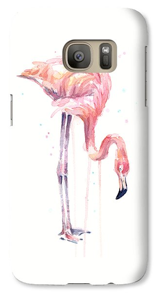 Flamingo Illustration Watercolor - Facing Left Galaxy S7 Case by Olga Shvartsur