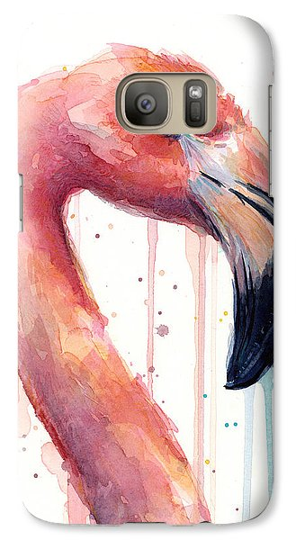Flamingo Painting Watercolor - Facing Right Galaxy S7 Case by Olga Shvartsur