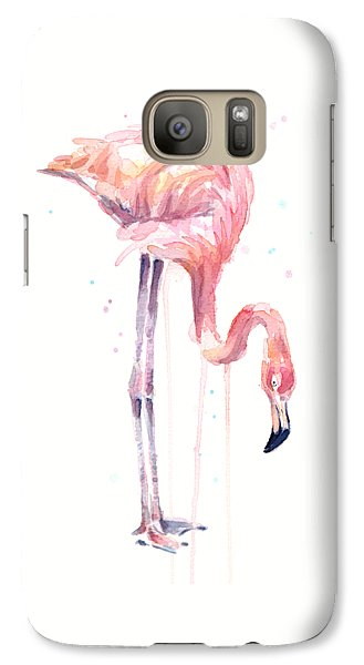 Flamingo Watercolor - Facing Left Galaxy S7 Case by Olga Shvartsur
