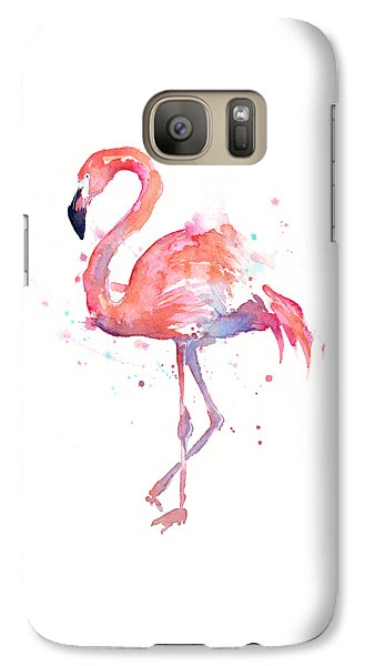 Flamingo Watercolor Galaxy S7 Case by Olga Shvartsur