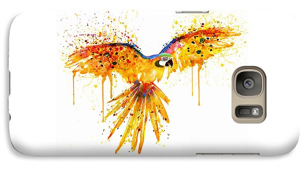 Flying Parrot Watercolor Galaxy Case by Marian Voicu