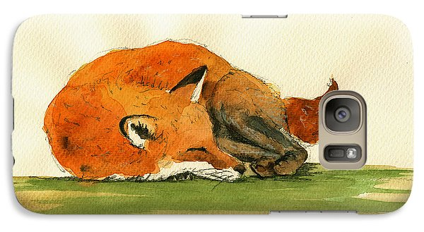 Fox Sleeping Painting Galaxy Case by Juan  Bosco