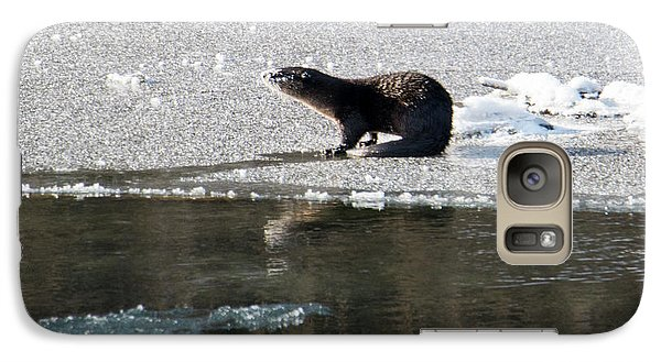 Frosty River Otter  Galaxy Case by Mike Dawson