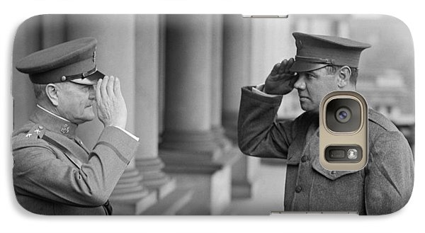 General John Pershing Saluting Babe Ruth Galaxy S7 Case by War Is Hell Store