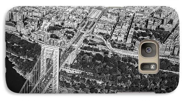 George Washington Bridge Upper Manhattan Bw Galaxy Case by Susan Candelario