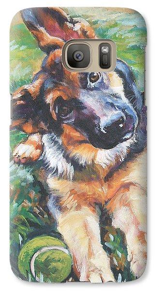 German Shepherd Pup With Ball Galaxy Case by Lee Ann Shepard