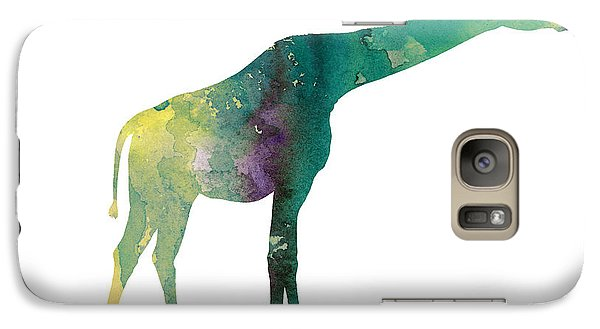Giraffe Colorful Watercolor Painting Galaxy Case by Joanna Szmerdt