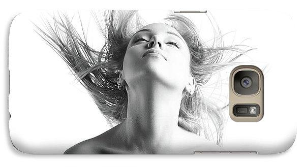 Girl With Flying Blond Hair Galaxy Case by Olena Zaskochenko