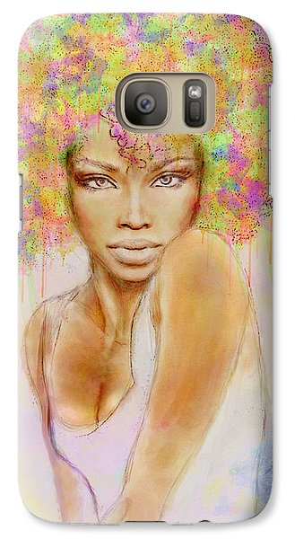 Girl With New Hair Style Galaxy Case by Lilia D