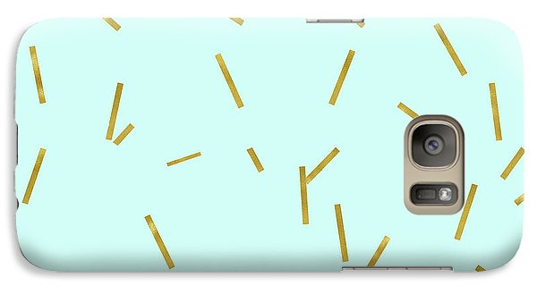 Glitter Confetti On Aqua Gold Pick Up Sticks Pattern Galaxy Case by Tina Lavoie