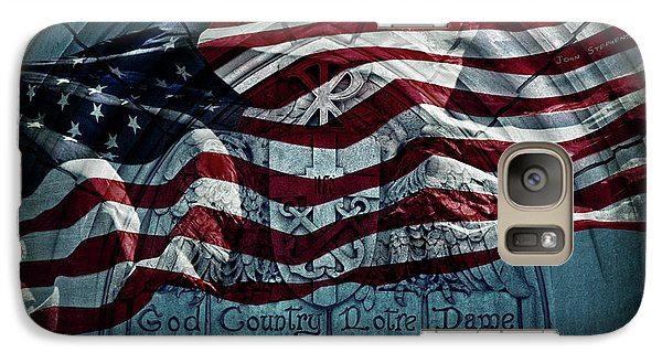 God Country Notre Dame American Flag Galaxy S7 Case by John Stephens