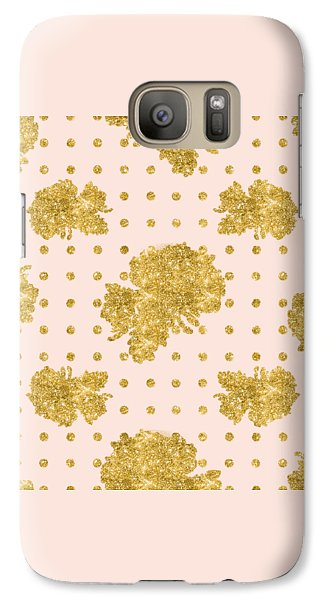 Golden Gold Blush Pink Floral Rose Cluster W Dot Bedding Home Decor Galaxy S7 Case by Audrey Jeanne Roberts