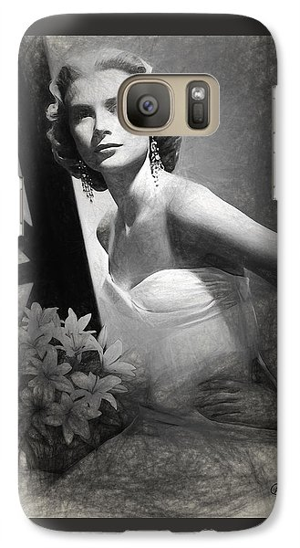 Grace Kelly Drawing Galaxy Case by Quim Abella