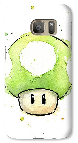 Green 1up Mushroom Galaxy Case by Olga Shvartsur