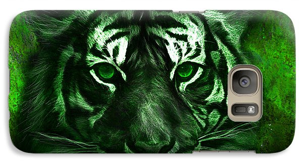 Green Tiger Galaxy Case by Michael Cleere