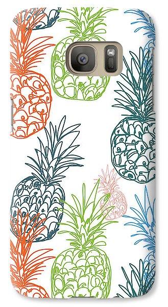 Happy Pineapple- Art By Linda Woods Galaxy S7 Case by Linda Woods