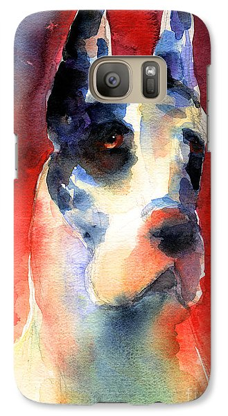 Harlequin Great Dane Watercolor Painting Galaxy S7 Case by Svetlana Novikova