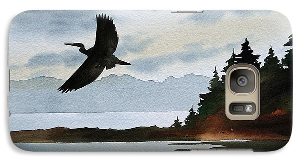 Heron Silhouette Galaxy Case by James Williamson