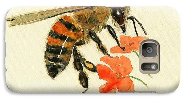 Honey Bee Watercolor Painting Galaxy S7 Case by Juan  Bosco