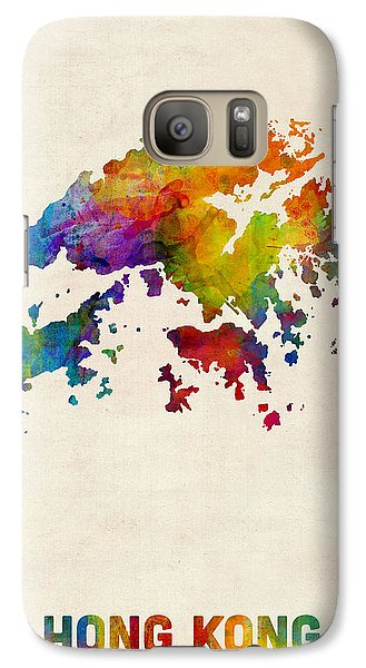 Hong Kong Watercolor Map Galaxy Case by Michael Tompsett
