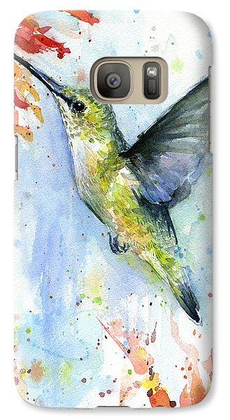 Hummingbird And Red Flower Watercolor Galaxy Case by Olga Shvartsur