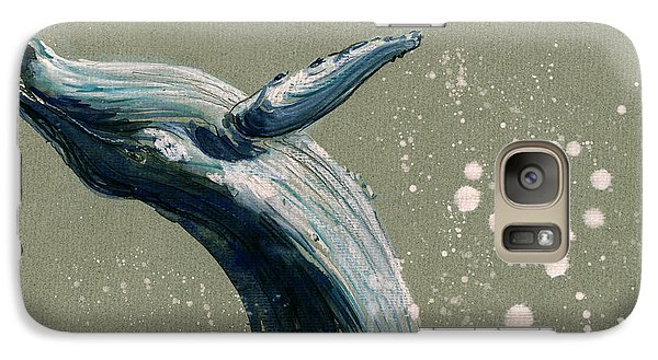 Humpback Whale Swimming Galaxy Case by Juan  Bosco