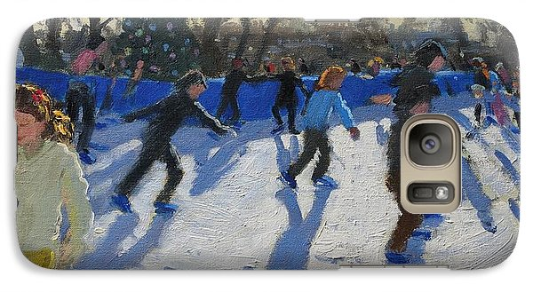 Ice Skaters At Christmas Fayre In Hyde Park  London Galaxy S7 Case by Andrew Macara