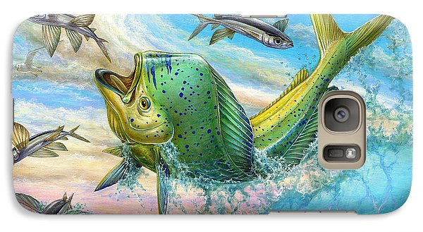 Jumping Mahi Mahi And Flyingfish Galaxy S7 Case by Terry Fox