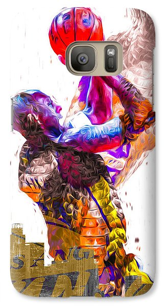 Kobe Bryant Los Angeles Lakers Digital Painting Snake 1 Galaxy Case by David Haskett