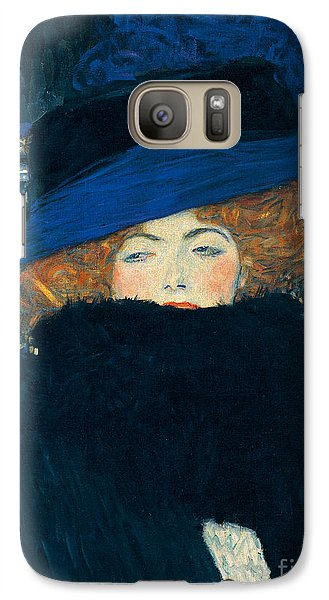 Lady With A Hat And A Feather Boa Galaxy Case by Gustav Klimt