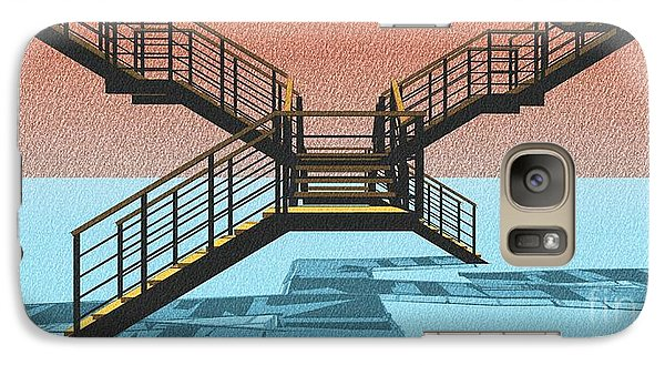 Large Stair 38 On Cyan And Strange Red Background Abstract Arhitecture Galaxy Case by Pablo Franchi