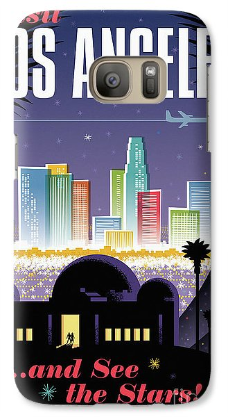 Los Angeles Retro Travel Poster Galaxy Case by Jim Zahniser